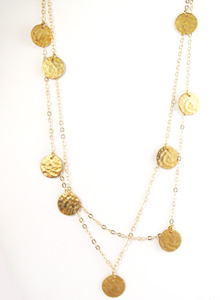 image of Hammered 11 Brass Disc Necklace