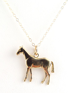 image of 14K Horse Charm Necklace