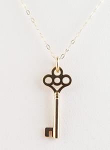 image of 14K Key Charm Necklace
