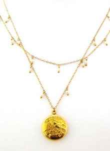 image of Double Strand Gold Filled Necklace W/ Vintage Inspired Pendant and Gemstone Accents