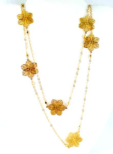 image of Gold Filled Necklace W/ Gold Plated Flowers and gold bead accents