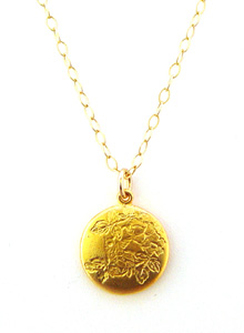 image of Vintage Inspired 18K Gold Plated Satin Finish Pendant on Gold Filled Chain