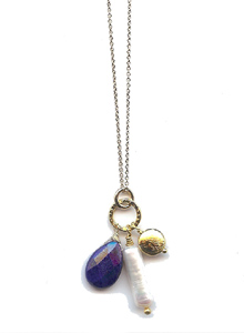 image of Lapis and Biwa Pearl Necklace