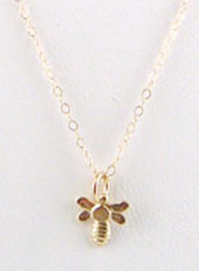 image of 14K Bee Charm Necklace