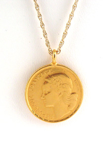 8ce5b7ecef9 Round Gold Plated French Coin Necklace (necklaces) ~ jessica thomas ...