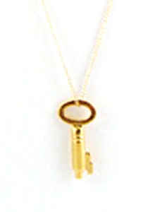 image of Vintage Gold Key Charm Necklace
