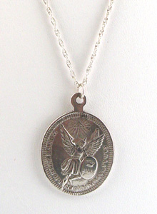 image of Oval Sterling Silver Angel Coin Necklace