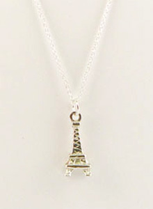 image of Vintage Silver Eiffel Tower Charm Necklace