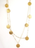 Hammered 11 Brass Disc Necklace