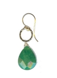 Vermeil Circle with Emerald Earring