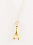 Vintage Gold Eiffel Tower Charm Necklace