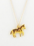 Vintage Gold Horse Charm Necklace