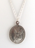 Oval Sterling Silver Angel Coin Necklace