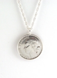Round Sterling Silver French Coin Necklace
