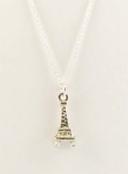 Vintage Silver Eiffel Tower Charm Necklace